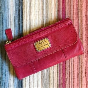 Fossil Long Live Vintage Red Leather Wallet